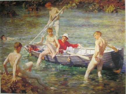 Ruby, gold and malachite - Henry Scott Tuke (1902)