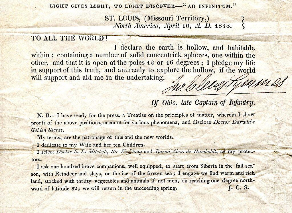 The earth is hollow - Cleves Symmes, Captain of Infantry, 1818